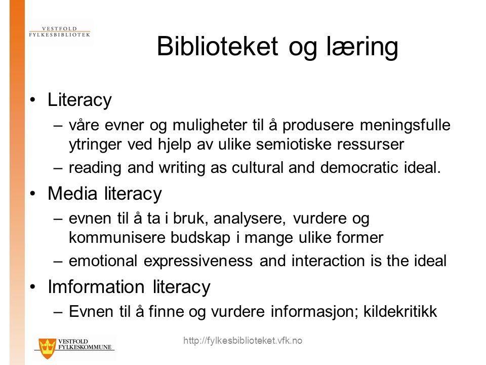 http://fylkesbiblioteket.vfk.no Biblioteket og læring Literacy –våre evner og muligheter til å produsere meningsfulle ytringer ved hjelp av ulike semi
