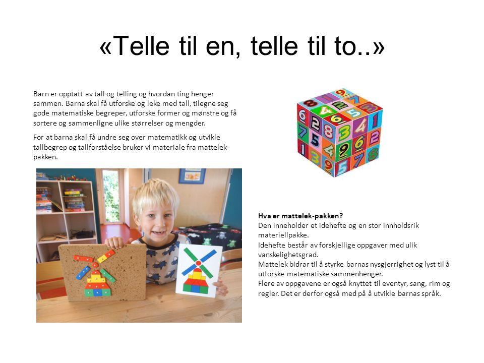 «Telle til en, telle til to..» Barn er opptatt av tall og telling og hvordan ting henger sammen. Barna skal få utforske og leke med tall, tilegne seg