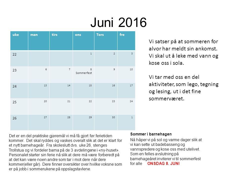 Juni 2016 ukemantirsonsTorsfre 22 123 23 678 Sommerfest 910 24 1314151617 25 2021222324 26 272829301 Det er en del praktiske gjøremål vi må få gjort før ferietiden kommer.