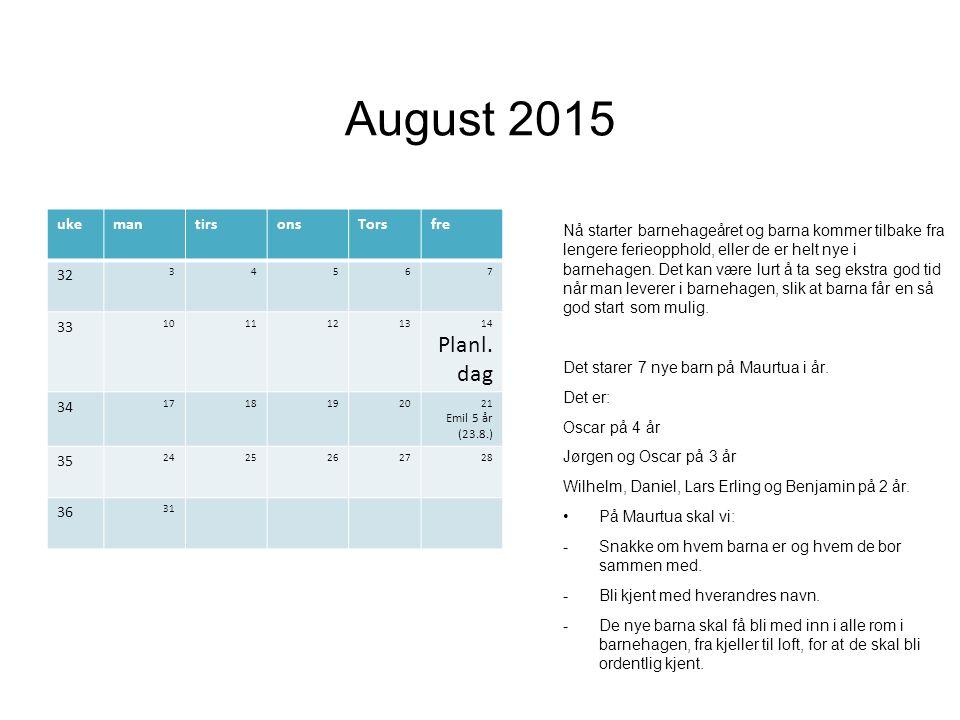 August 2015 Nå starter barnehageåret og barna kommer tilbake fra lengere ferieopphold, eller de er helt nye i barnehagen.