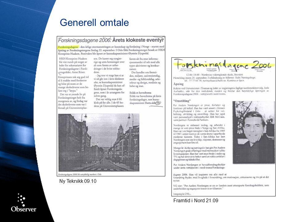 Generell omtale Framtid i Nord 21.09 Ny Teknikk 09.10
