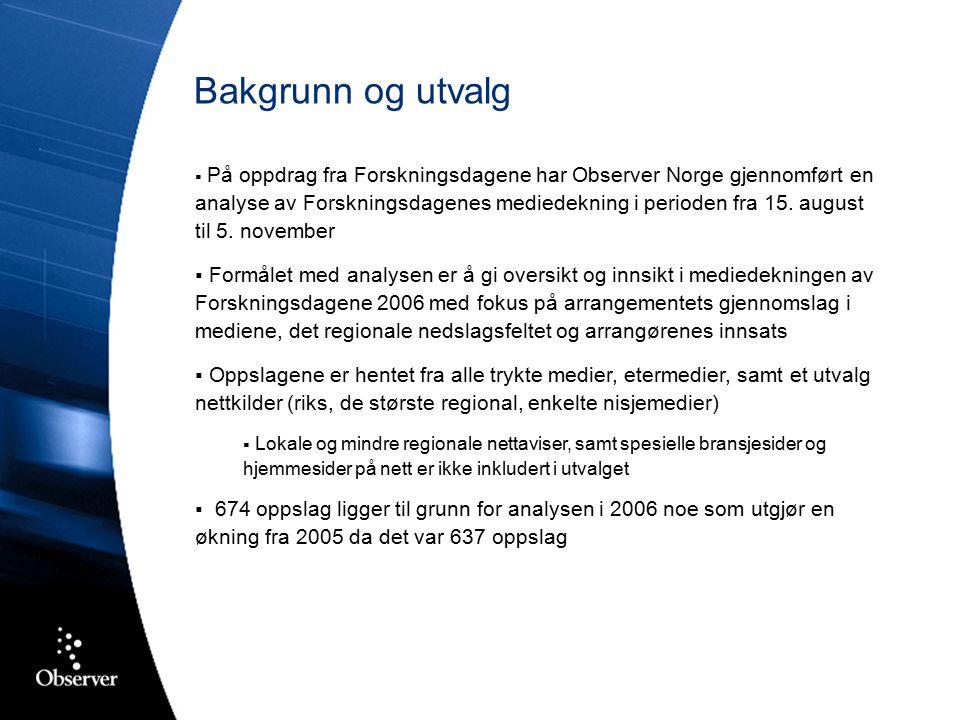 Arrangøroversikt: NRK og Meteorologisk Institutt NRK og MET omtalt i henholdsvis 11 % og 8 % av oppslagene Kun synlige i forbindelse med Ekstremværuka og Regnsjekken Regnsjekken nevnes i 54 % Bidrar til høy eksponering for forskning og skoleprosjektet, men… …linken til Forskningsdagene kun nevnt i 8 % av dekningen Bergens Tidende 25.09