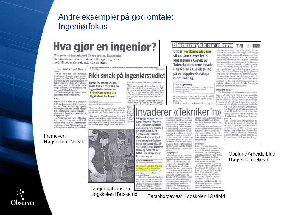 Andre eksempler på god omtale: Ingeniørfokus Fremover: Høgskolen i Narvik Laagendalsposten: Høgskolen i Buskerud Oppland Arbeiderblad: Høgskolen i Gjøvik Sarspborgavisa: Høgskolen i Østfold