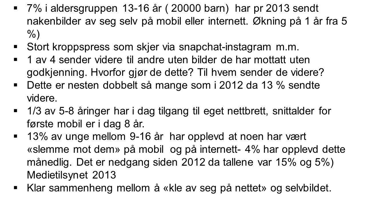  7% i aldersgruppen 13-16 år ( 20000 barn) har pr 2013 sendt nakenbilder av seg selv på mobil eller internett.