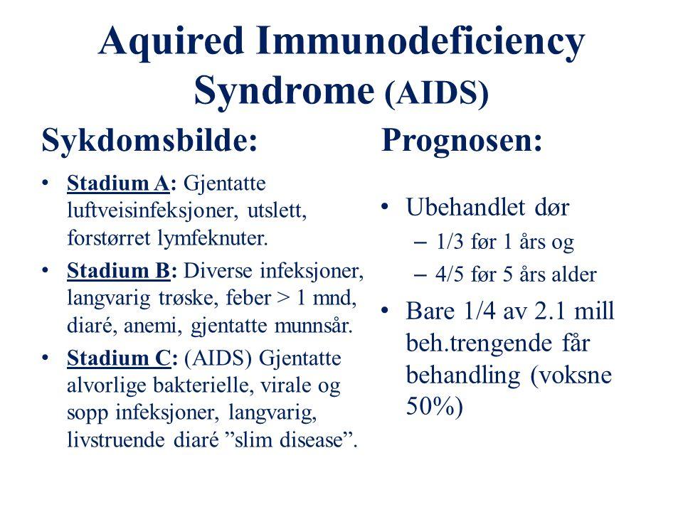Human Immunodeficiency Virus (HIV) Smitte fra mor til barn: Svangerskap 10 - 30% I forbindelse med fødsel 40 - 80% Smitte via morsmelk 10 - 20% Urent blod/blodprodukter, urene sprøyter/instrumenter.