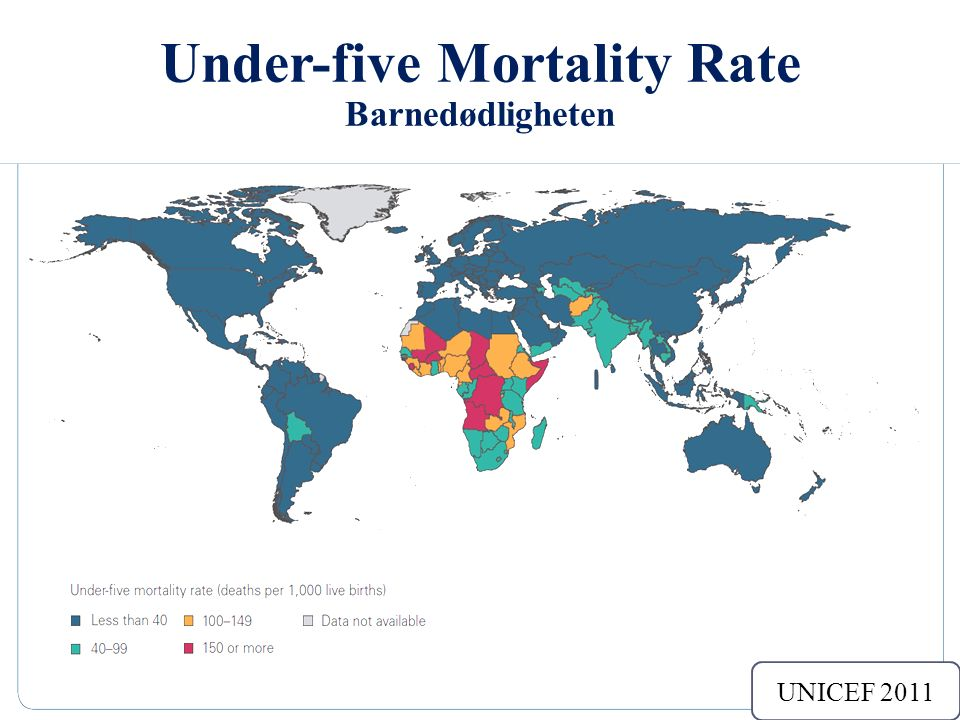 Under-five Mortality Rate Barnedødligheten Sub-Saharan Africa 174/1000 8 The annual number of children dying between birth and exactly 5 yrs of age/1000 live birth.