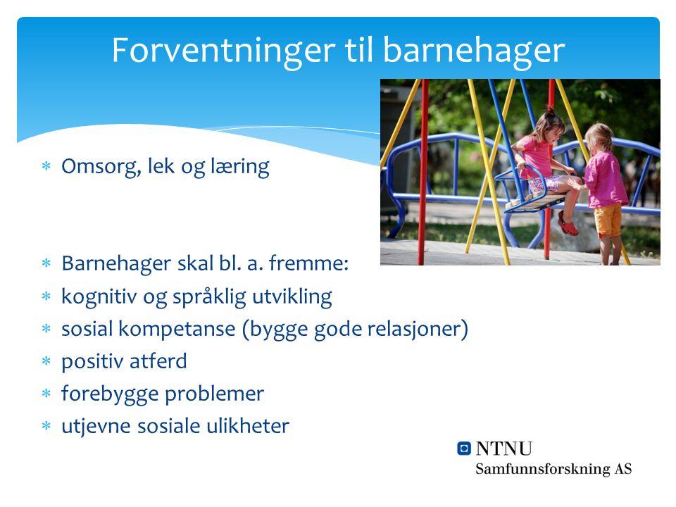  Omsorg, lek og læring  Barnehager skal bl. a. fremme:  kognitiv og språklig utvikling  sosial kompetanse (bygge gode relasjoner)  positiv atferd