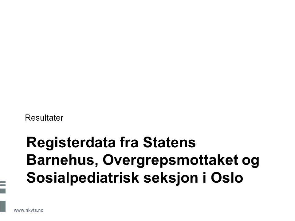 Registerdata fra Statens Barnehus, Overgrepsmottaket og Sosialpediatrisk seksjon i Oslo Resultater