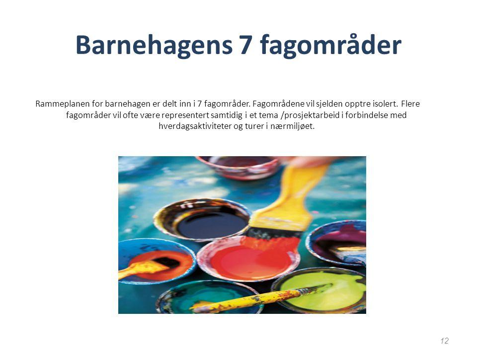 Barnehagens 7 fagområder Rammeplanen for barnehagen er delt inn i 7 fagområder.