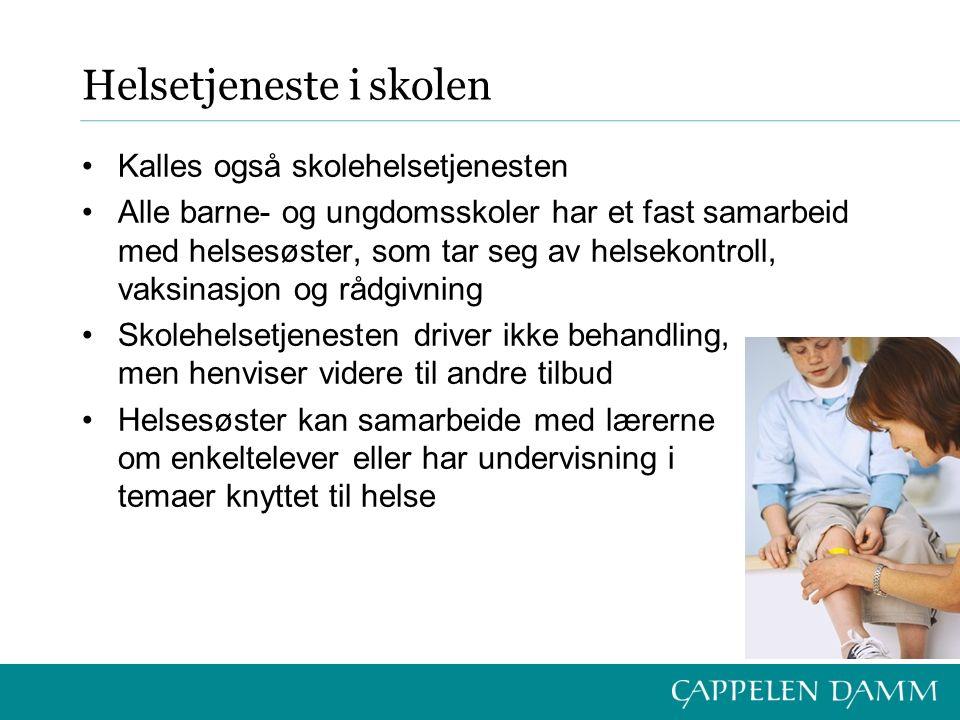 Helsetjeneste i skolen Kalles også skolehelsetjenesten Alle barne- og ungdomsskoler har et fast samarbeid med helsesøster, som tar seg av helsekontrol
