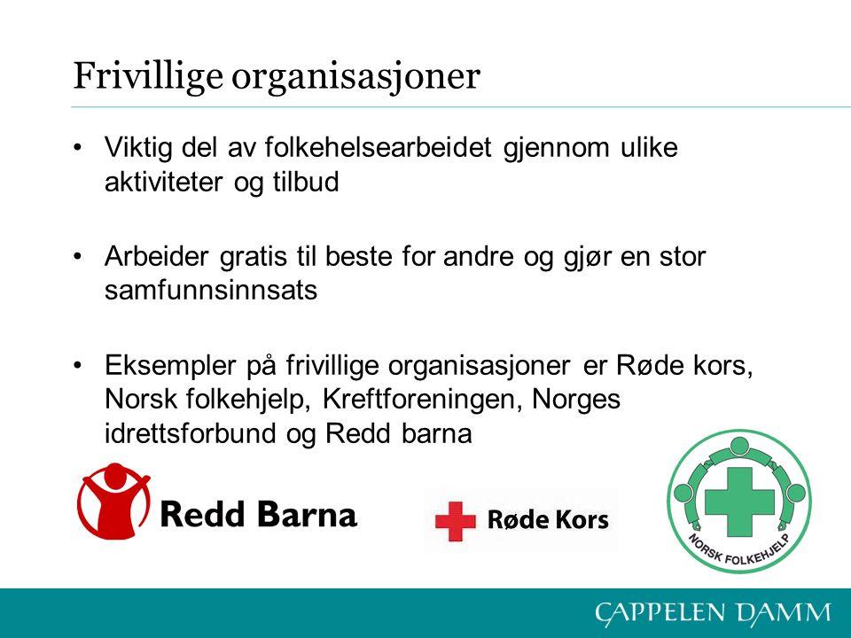 Frivillige organisasjoner Viktig del av folkehelsearbeidet gjennom ulike aktiviteter og tilbud Arbeider gratis til beste for andre og gjør en stor samfunnsinnsats Eksempler på frivillige organisasjoner er Røde kors, Norsk folkehjelp, Kreftforeningen, Norges idrettsforbund og Redd barna