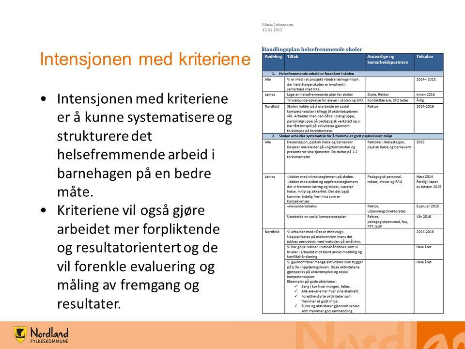 Intensjonen med kriteriene er å kunne systematisere og strukturere det helsefremmende arbeid i barnehagen på en bedre måte. Kriteriene vil også gjøre