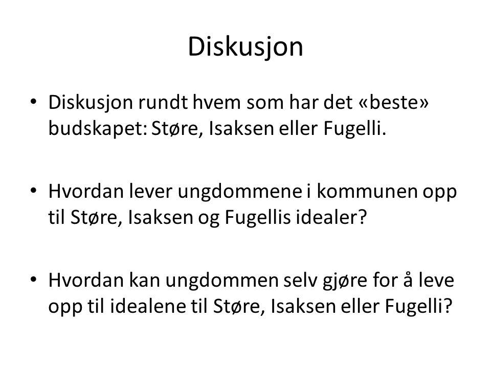 Diskusjon Diskusjon rundt hvem som har det «beste» budskapet: Støre, Isaksen eller Fugelli. Hvordan lever ungdommene i kommunen opp til Støre, Isaksen