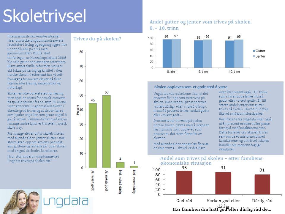 Skoletrivsel Internasjonale skoleundersøkelser viser at norske ungdomsskoleelevers resultater i lesing og regning ligger noe under eller er på nivå med gjennomsnittet i OECD.