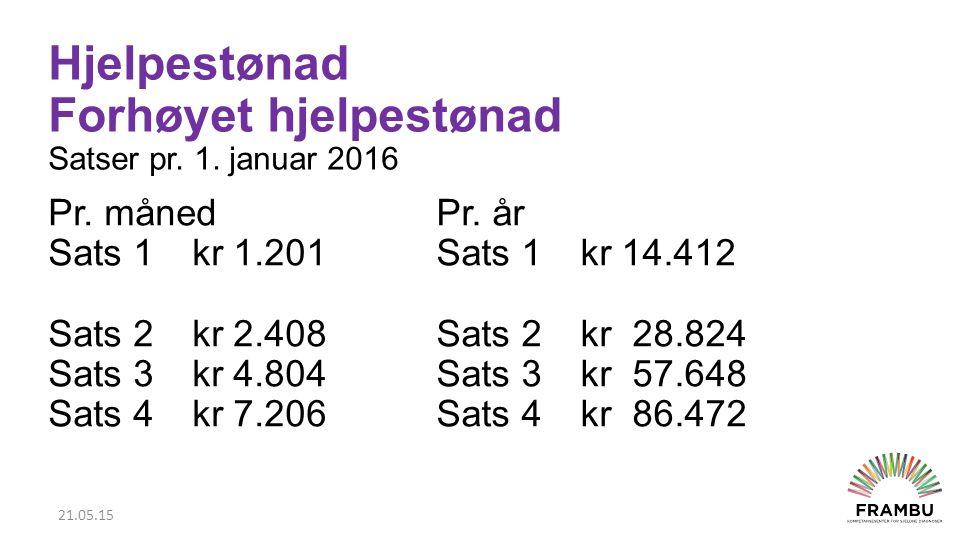 Hjelpestønad Forhøyet hjelpestønad Satser pr.1. januar 2016 Pr.