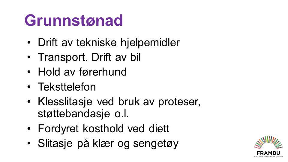 Grunnstønad Drift av tekniske hjelpemidler Transport.