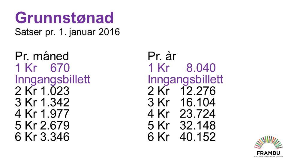 Grunnstønad Satser pr.1. januar 2016 Pr.