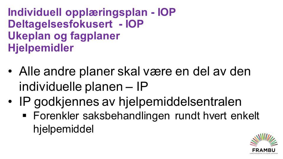 Individuell opplæringsplan - IOP Deltagelsesfokusert - IOP Ukeplan og fagplaner Hjelpemidler Alle andre planer skal være en del av den individuelle planen – IP IP godkjennes av hjelpemiddelsentralen  Forenkler saksbehandlingen rundt hvert enkelt hjelpemiddel