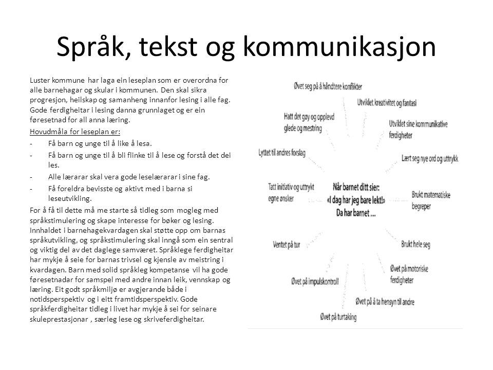 Språk, tekst og kommunikasjon Luster kommune har laga ein leseplan som er overordna for alle barnehagar og skular i kommunen.