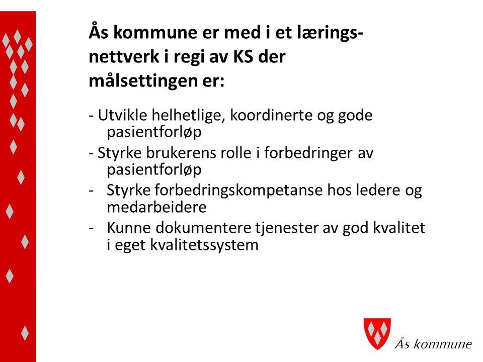 Ås kommune Ås kommune er med i et lærings- nettverk i regi av KS der målsettingen er: - Utvikle helhetlige, koordinerte og gode pasientforløp - Styrke brukerens rolle i forbedringer av pasientforløp -Styrke forbedringskompetanse hos ledere og medarbeidere -Kunne dokumentere tjenester av god kvalitet i eget kvalitetssystem
