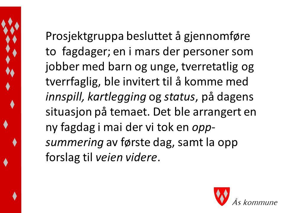 Ås kommune Vi tok kontakt med KoRus øst for å be om bistand til veiledning og gjennomføring av disse dagene; 1)at de hadde god kompetanse på fagfeltet, metoden og gjennomføring av den 2)det var viktig at de som leder seansen er «nøytrale»