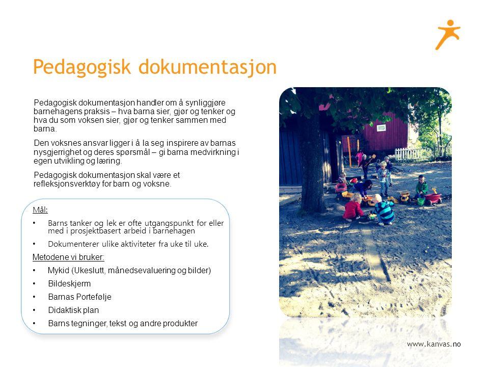 www.kanvas.no Pedagogisk dokumentasjon Pedagogisk dokumentasjon handler om å synliggjøre barnehagens praksis – hva barna sier, gjør og tenker og hva du som voksen sier, gjør og tenker sammen med barna.