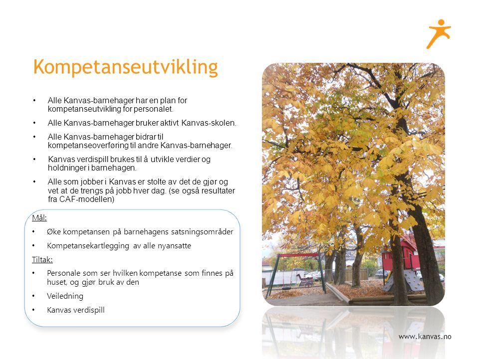 www.kanvas.no Kompetanseutvikling Alle Kanvas-barnehager har en plan for kompetanseutvikling for personalet.