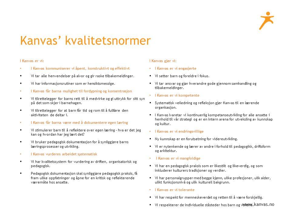 www.kanvas.no Kanvas' kvalitetsnormer I Kanvas er vi: I Kanvas kommuniserer vi åpent, konstruktivt og effektivt  Vi tar alle henvendelser på alvor og gir raske tilbakemeldinger.