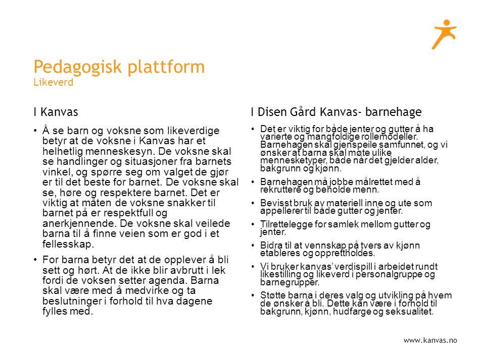 www.kanvas.no Pedagogisk plattform Likeverd I Kanvas Å se barn og voksne som likeverdige betyr at de voksne i Kanvas har et helhetlig menneskesyn.