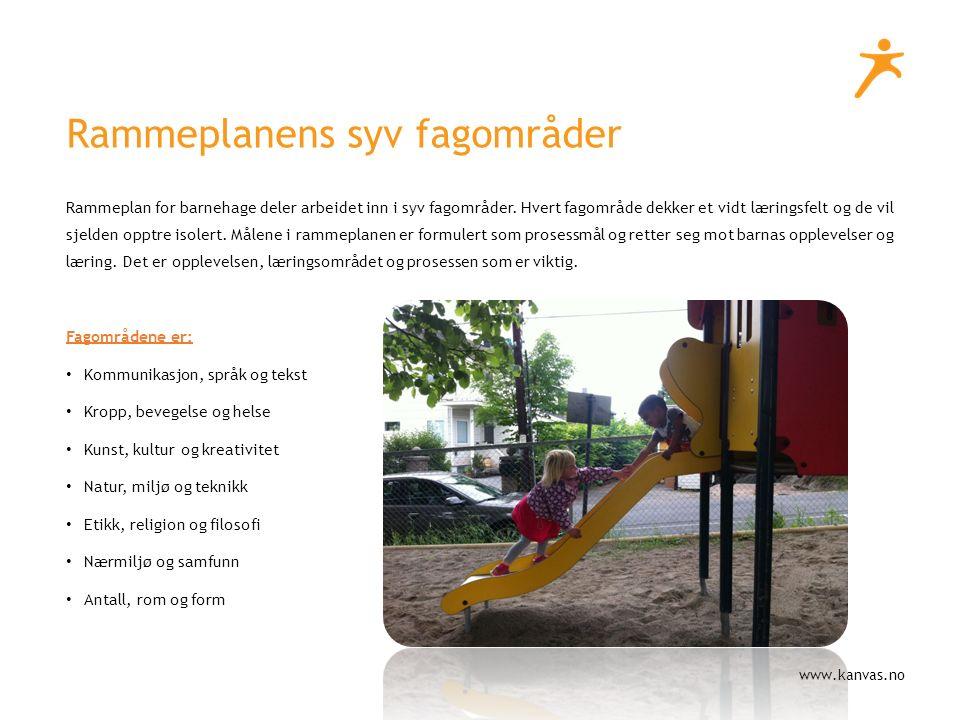 www.kanvas.no Rammeplan for barnehage deler arbeidet inn i syv fagområder.