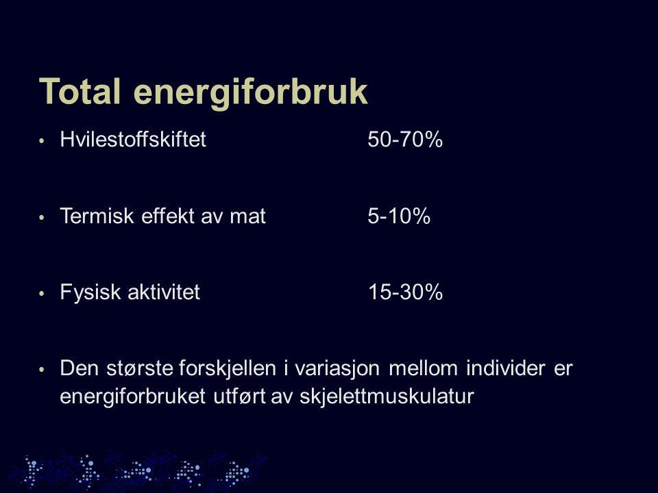 Total energiforbruk Hvilestoffskiftet50-70% Termisk effekt av mat5-10% Fysisk aktivitet15-30% Den største forskjellen i variasjon mellom individer er energiforbruket utført av skjelettmuskulatur