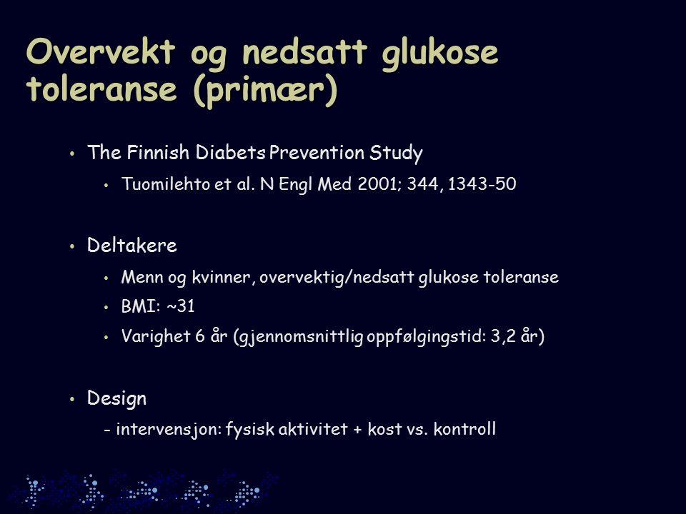 Overvekt og nedsatt glukose toleranse (primær) The Finnish Diabets Prevention Study Tuomilehto et al.