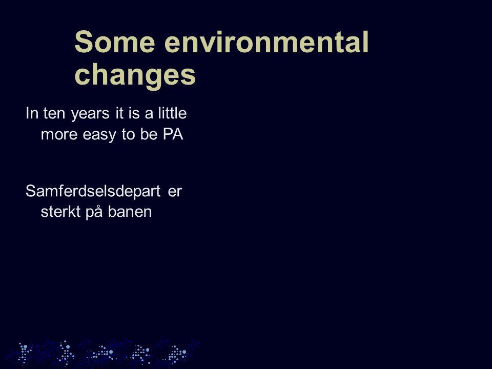 Some environmental changes In ten years it is a little more easy to be PA Samferdselsdepart er sterkt på banen