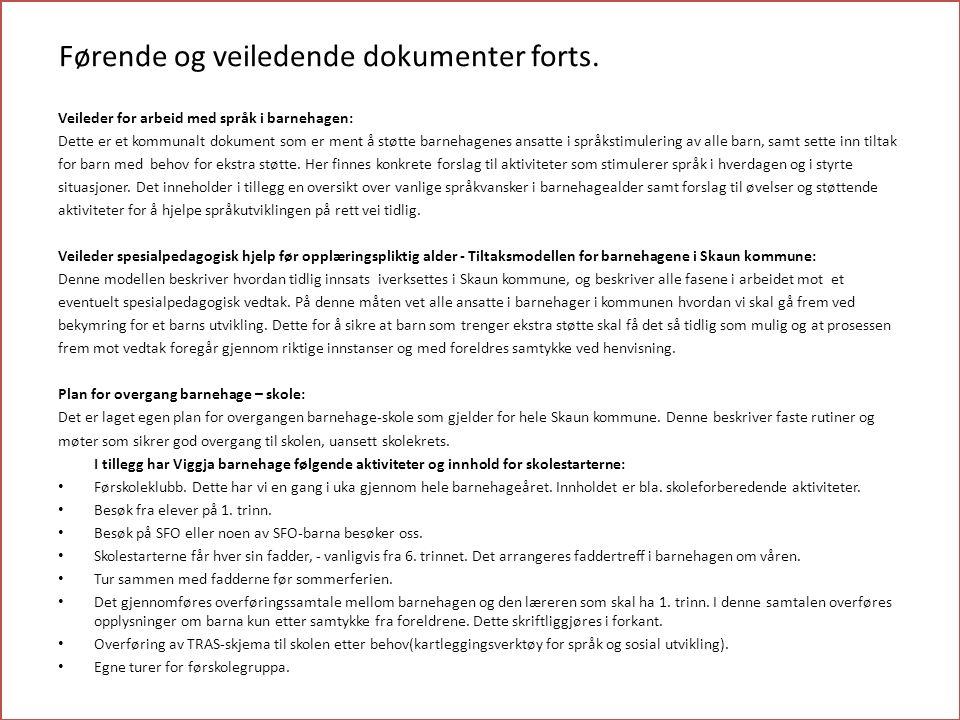 Førende og veiledende dokumenter forts. Veileder for arbeid med språk i barnehagen: Dette er et kommunalt dokument som er ment å støtte barnehagenes a
