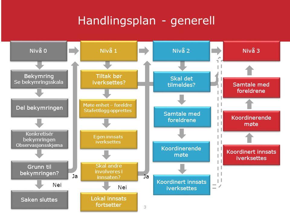 Handlingsplan - generell Samtale med foreldrene Koordinert innsats iverksettes Koordinerende møte Ja Grunn til bekymringen.