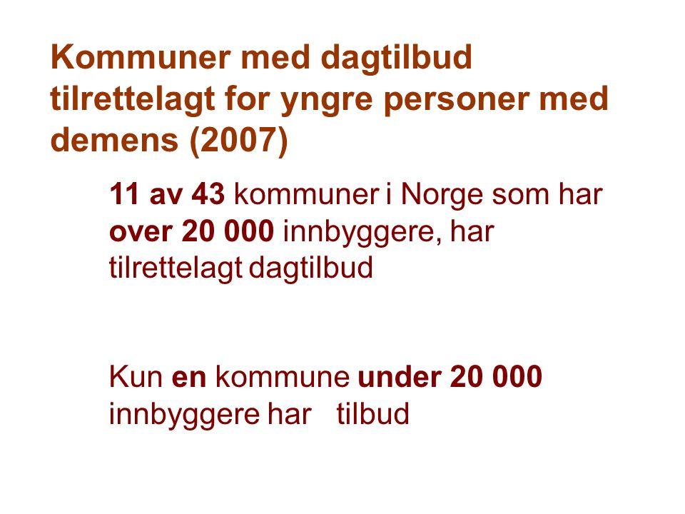 Kommuner med dagtilbud tilrettelagt for yngre personer med demens (2007) 11 av 43 kommuner i Norge som har over 20 000 innbyggere, har tilrettelagt dagtilbud Kun en kommune under 20 000 innbyggere har tilbud