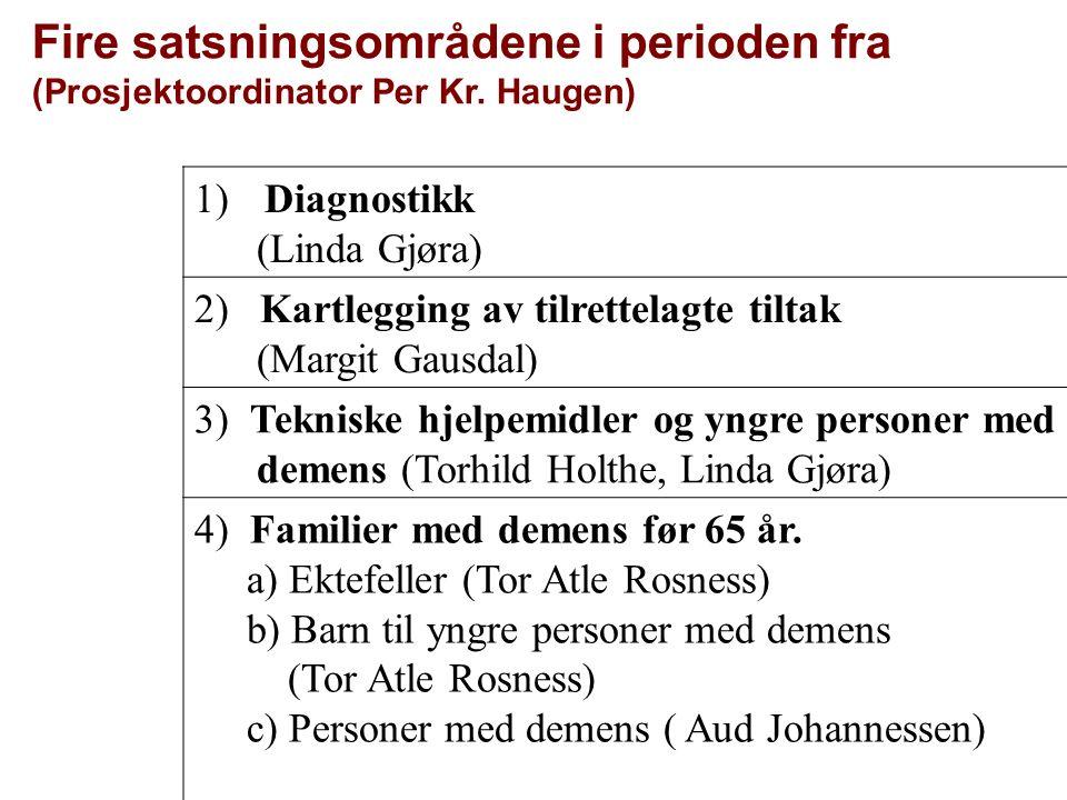 Fire satsningsområdene i perioden fra (Prosjektoordinator Per Kr. Haugen) 1) Diagnostikk (Linda Gjøra) 2) Kartlegging av tilrettelagte tiltak (Margit