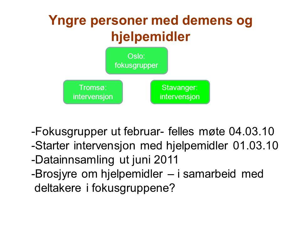 Oslo: fokusgrupper Tromsø: intervensjon Stavanger: intervensjon Yngre personer med demens og hjelpemidler -Fokusgrupper ut februar- felles møte 04.03.