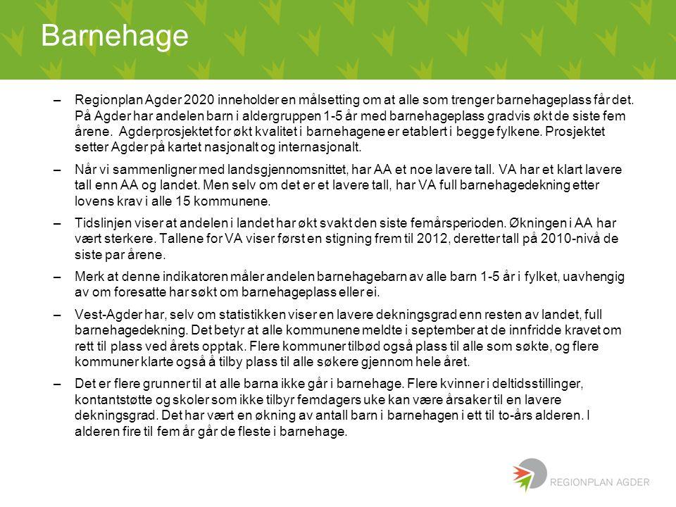 –Regionplan Agder 2020 inneholder en målsetting om at alle som trenger barnehageplass får det. På Agder har andelen barn i aldergruppen 1-5 år med bar