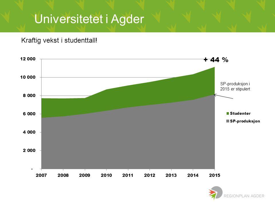 Kraftig vekst i studenttall! + 44 % Universitetet i Agder