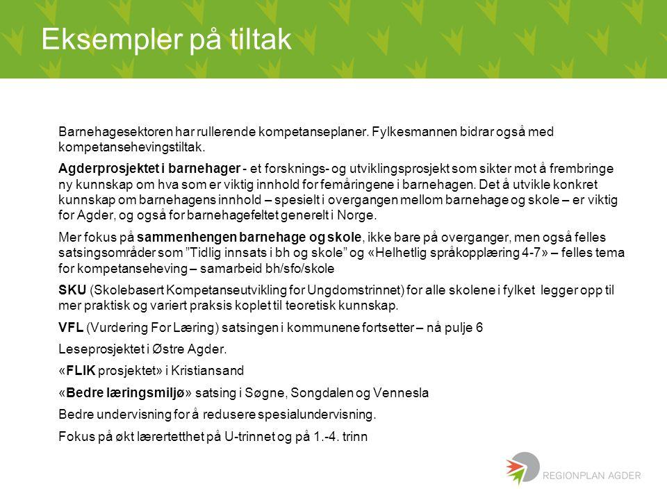 Eksempler på tiltak Barnehagesektoren har rullerende kompetanseplaner. Fylkesmannen bidrar også med kompetansehevingstiltak. Agderprosjektet i barneha