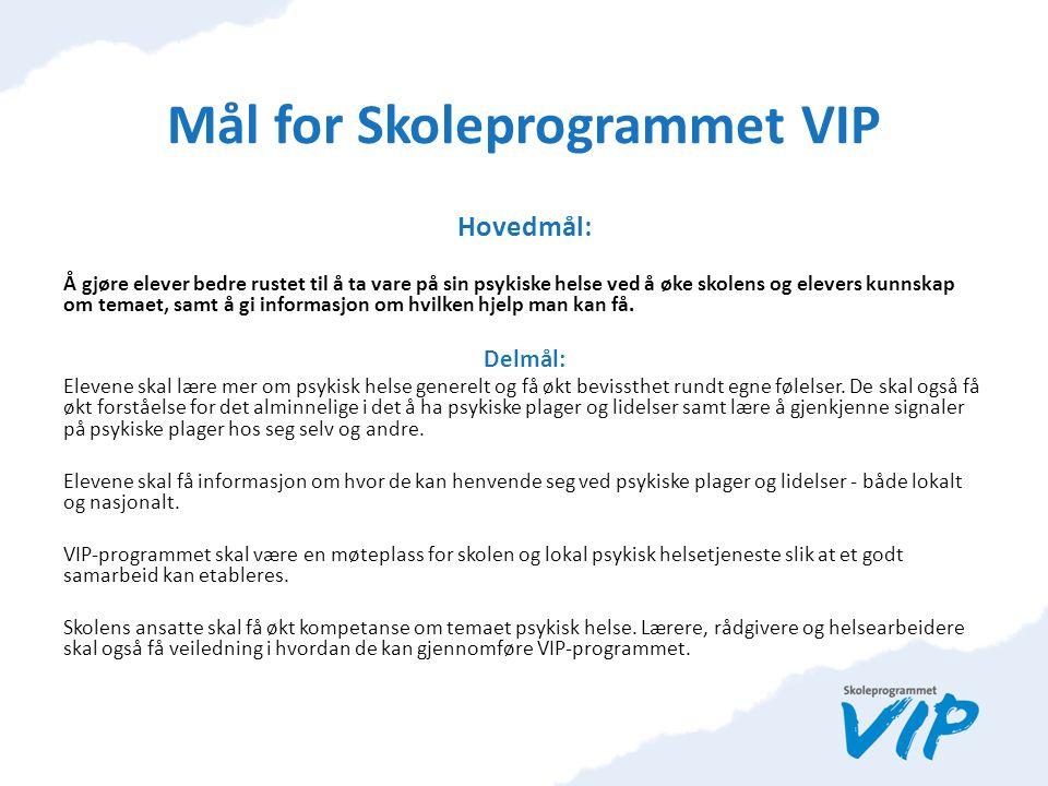 Informasjon til foresatte om Skoleprogrammet VIP Skoleprogrammet VIP et helsefremmende og forebyggende tiltak for videregående trinn 1.