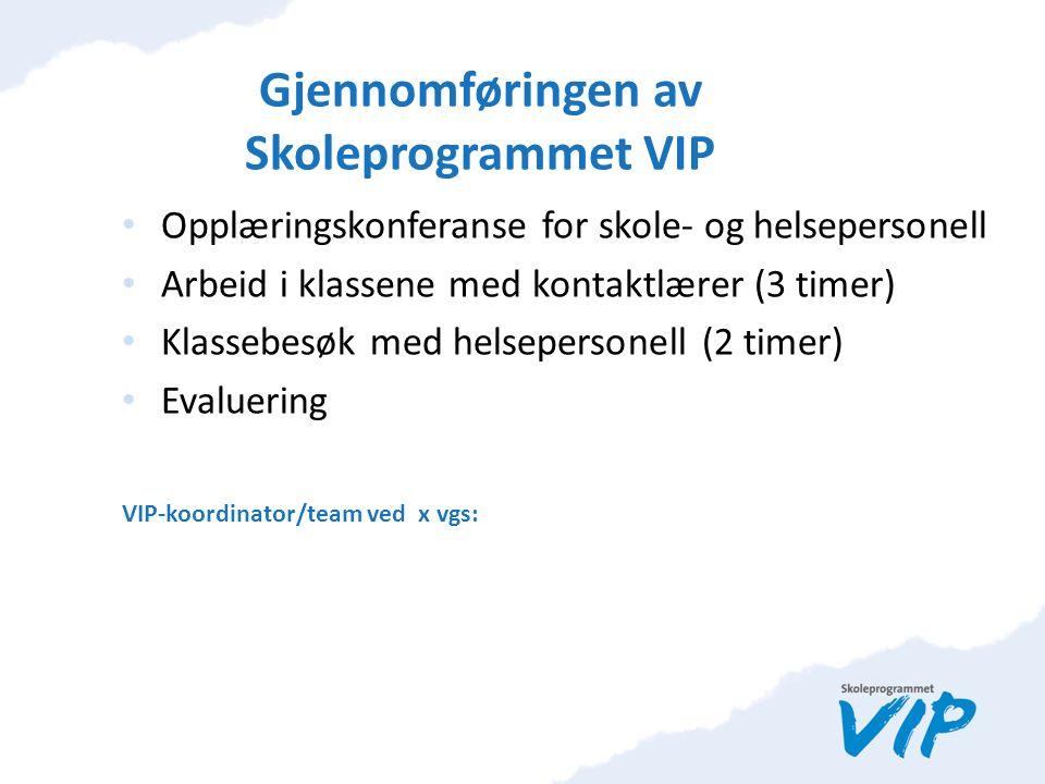Gjennomføringen av Skoleprogrammet VIP Opplæringskonferanse for skole- og helsepersonell Arbeid i klassene med kontaktlærer (3 timer) Klassebesøk med helsepersonell (2 timer) Evaluering VIP-koordinator/team ved x vgs:
