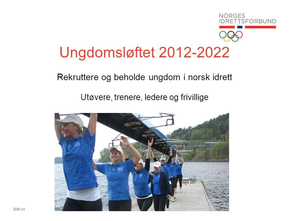 Side 20 Ungdomsløftet 2012-2022 Rekruttere og beholde ungdom i norsk idrett Utøvere, trenere, ledere og frivillige