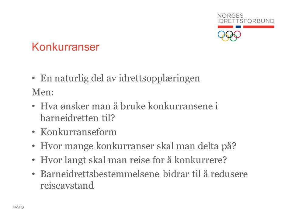 Side 35 En naturlig del av idrettsopplæringen Men: Hva ønsker man å bruke konkurransene i barneidretten til.