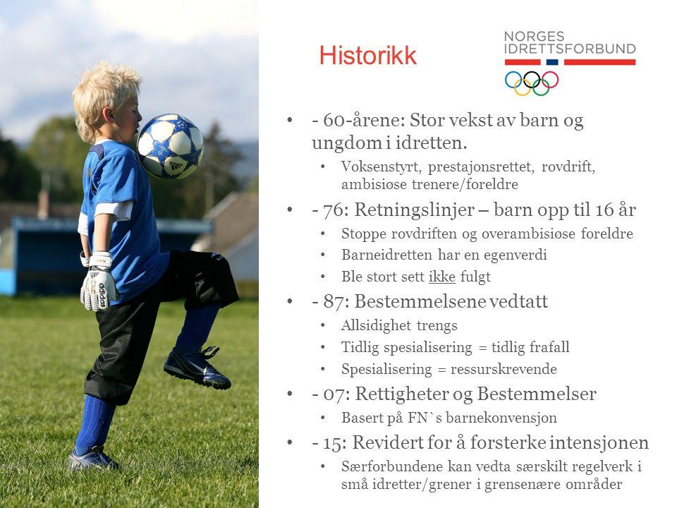 Historikk - 60-årene: Stor vekst av barn og ungdom i idretten.