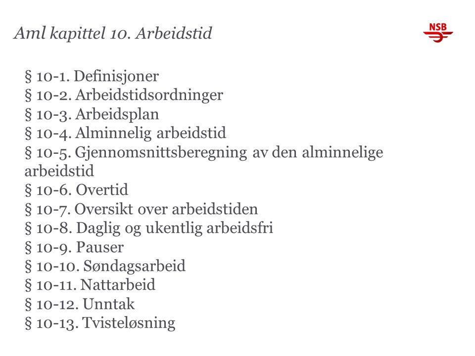 Aml kapittel 10. Arbeidstid § 10-1. Definisjoner § 10-2.