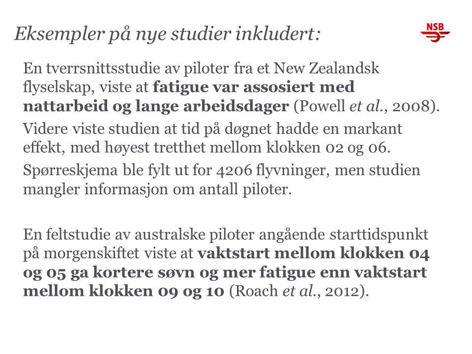 Eksempler på nye studier inkludert: En tverrsnittsstudie av piloter fra et New Zealandsk flyselskap, viste at fatigue var assosiert med nattarbeid og lange arbeidsdager (Powell et al., 2008).