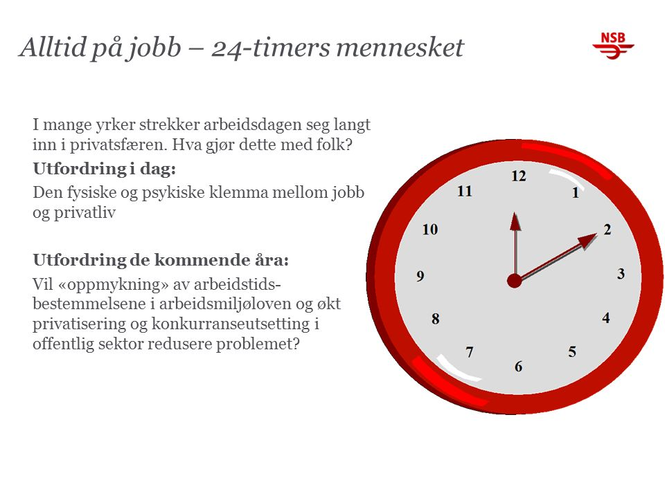 Alltid på jobb – 24-timers mennesket I mange yrker strekker arbeidsdagen seg langt inn i privatsfæren.