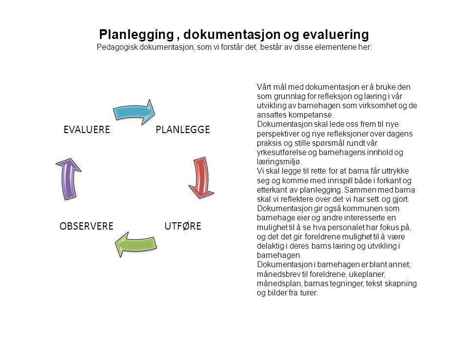 Planlegging, dokumentasjon og evaluering Pedagogisk dokumentasjon, som vi forstår det, består av disse elementene her: PLANLEGGE UTFØREOBSERVERE EVALU